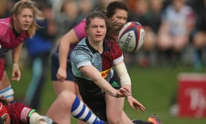Leanne Riley of Harlequins Ladies throws out a pass in last Saturday's 76-12 win over Darlington Mowden Park Sharks in Guildford.