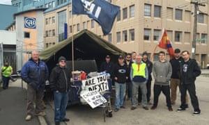 Carlton United Breweries workers striking in June 2016.