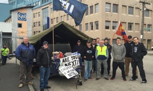 Carlton United Breweries workers striking in June 2016.