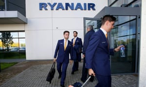 Ryanair pilots arriving for work