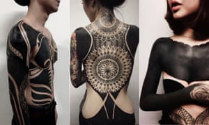 Into the black: blackout tattoo designs by Oracle Tattoo in Singapore.