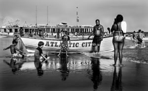 People gather at one of the famous Atlantic City lifeboats. August 2016