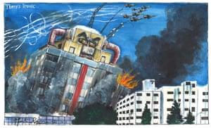Martin Rowson cartoon 4.6.21: Netanyahu as tower bombed by Israeli jets