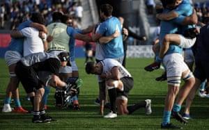 Fiji's Jale Vatubua reacts after losing to Uruguay at the Kamaishi Recovery Memorial Stadium.