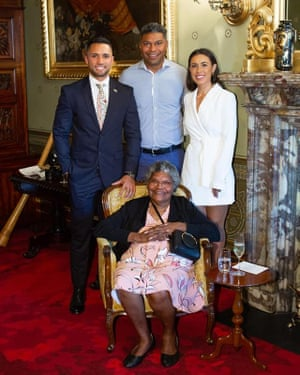 Isaiah Dawe with his family at NSW Government House