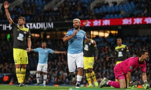 Sergio Agüero celebrates scoring Manchester City's third goal, and his second, against Southampton.