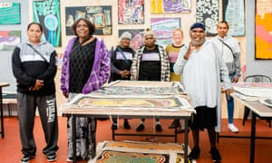 Artists from the Warakurna centre in remote Western Australia at the Tarnanthi art fair in Adelaide.