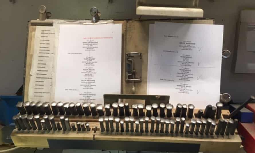 In the studio of Michael Friedrichs-Friedländer, the craftsman who engraves each Stolperstein by hand.