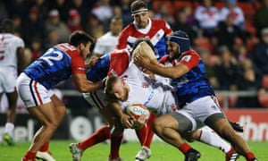 England play France in a rugby league Test match at Leigh Sports Village.