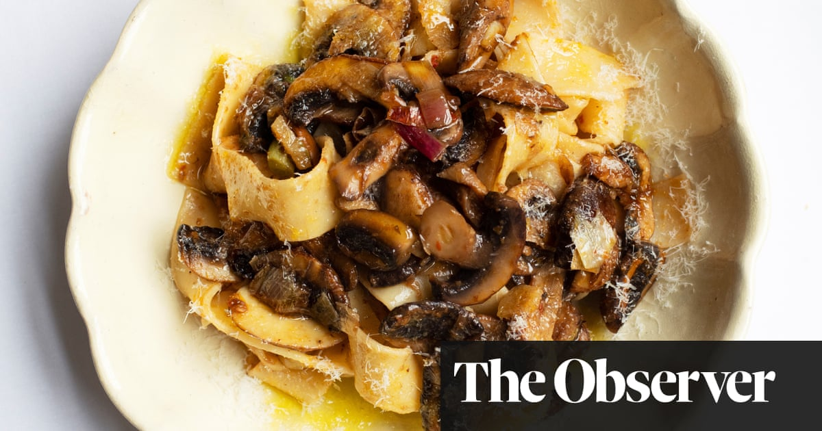 Nigel Slater's recipe for pappardelle, mushrooms and harissa