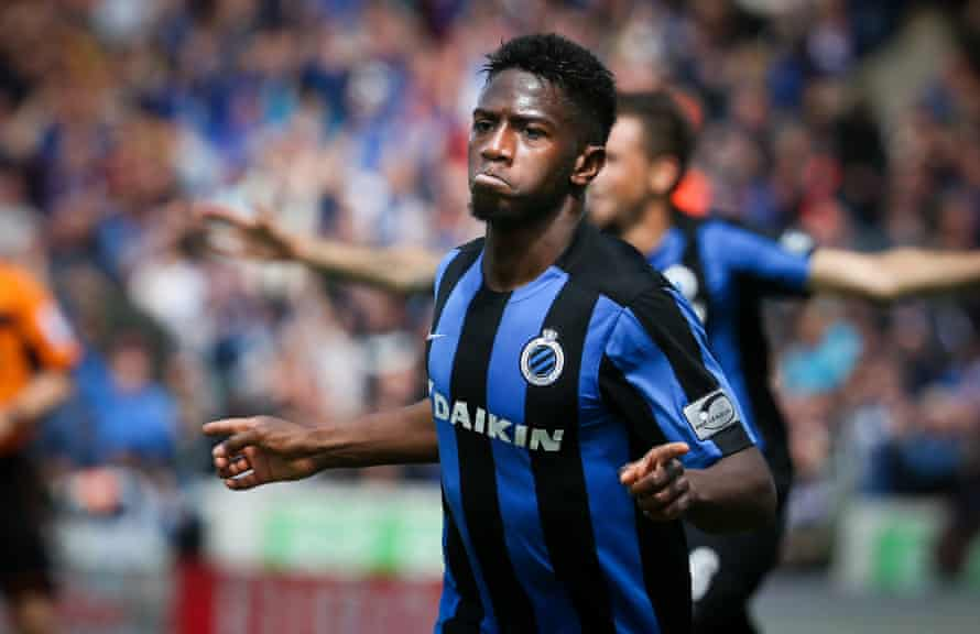 Club Brugge's Abdoulay Diaby celebrates after scoring during the Jupiler Pro League match between Club Brugge and RSC Anderlecht, in Brugge, on May 15, 2016.