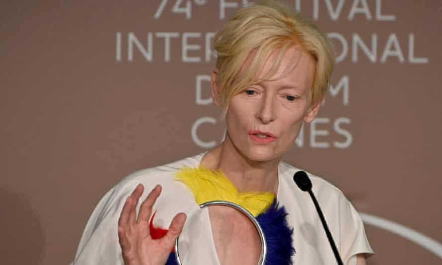 Tilda Swinton at the Cannes film festival on Friday