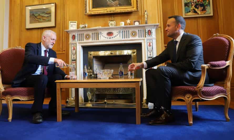 Jeremy Corbyn and the taoiseach, Leo Varadkar