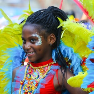 A young performer attends the two-day celebration of Caribbean heritage