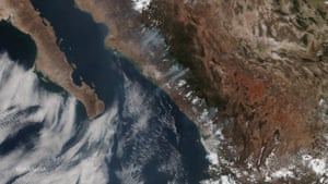 Wildfires burnings in the Sierra Madre mountain forests of western Mexico