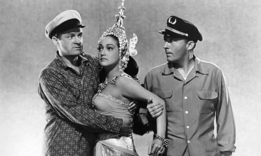 Bob Hope, Dorothy Lamour and Bing Crosby in Road to Bali. Lamour's comic timing and athletic dance moves are a key reason these films work as well as they do.