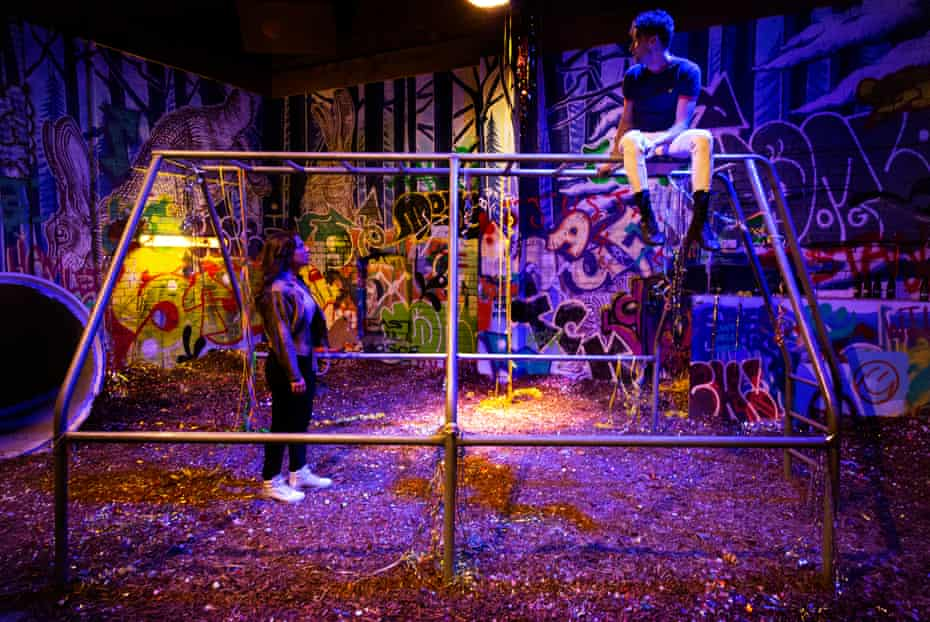 A scene in the immersive theatre production Because the Night at Malthouse Theatre, Melbourne.