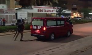 A fire brigade vehicle at the scene in Ouagadougou.
