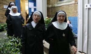 Nuns from Tyburn Convent leave a polling station at St John's Parish Hall, central London