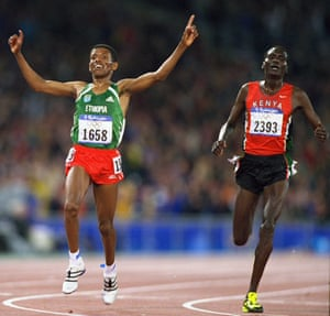 Haile Gebrselassie and Paul Tergat25 Sep 2000: Haile Gebrselassie of Ethiopia beats Paul Tergat of Kenya in the Mens 10000m Final at the Olympic Stadium on Day Ten of the Sydney 2000 Olympic Games in Sydney, Australia. \ Mandatory Credit: Andy Lyons /Allsport