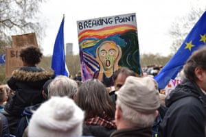Placard with image replicating The Scream and caption 'Breaking Point'