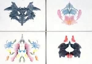 Four Rorschach inkblot tests. These tests, designed by Hermann Rorschach in 1921, are from a book published by Hans Huber of Bern, Switzerland.