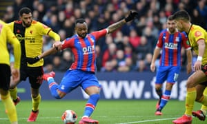 Jordan Ayew scores Crystal Palace's winner against Watford from outside the penalty area.