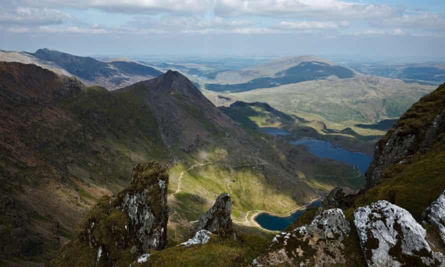 View to Crib Goch and the Pyg Track with Llyn Glaslyn and Llyn Llydaw from Snowdon summit, Gwynedd, Wales.