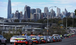 NSW police check vehicles on the M4 motorway heading towards the Sydney city centre