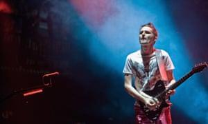 Muse's Matt Bellamy on the main stage at the Glastonbury festival.