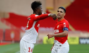 Keita celebrates with Falcao after scoring his first goal in a Monaco shirt.