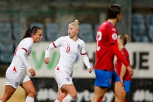 England's number 9 Bethany England celebrates after getting the Lionesses back on level terms.