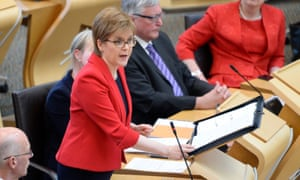 Nicola Sturgeon responding to first minister's questions on Thursday