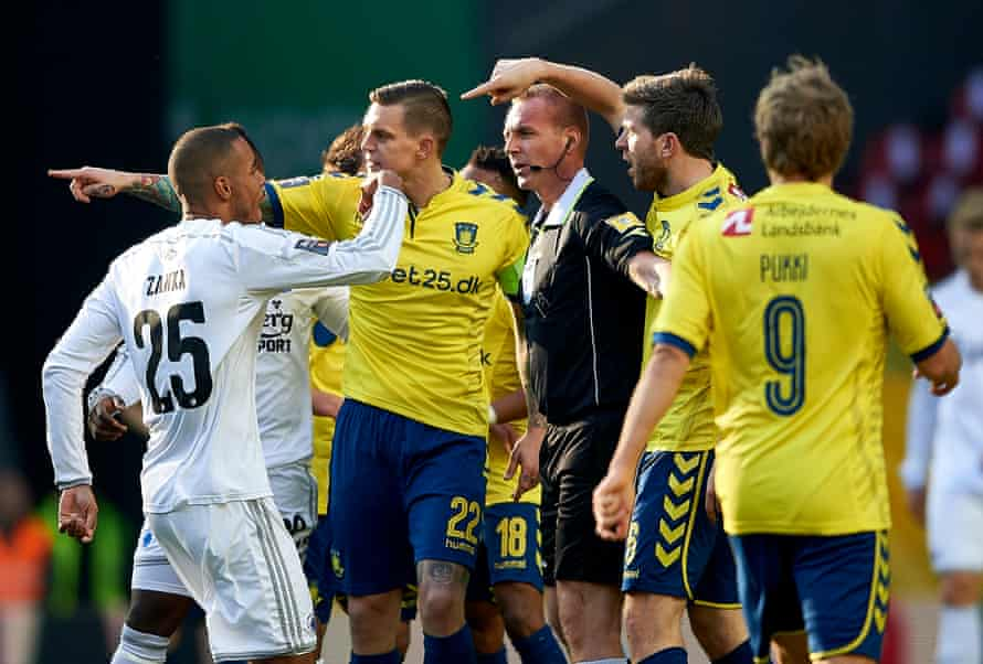Brondby's Daniel Agger in heated discussion during a Danish Superliga match against rivals FC Copenhagen.