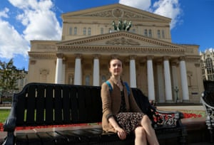Armstrong poses for a picture near the Bolshoi Theatre