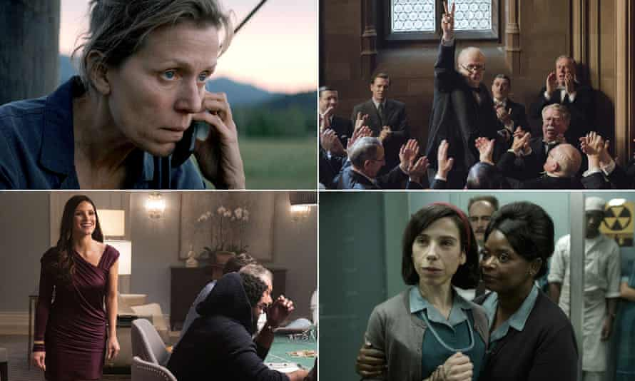 Frances McDormand in Three Billboards Outside Ebbing Missouri; Gary Oldman in Darkest Hour; Sally Hawkins in The Shape of Water; and Jessica Chastain in Molly's Game.