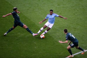 Raheem Sterling of Manchester City controls the ball.