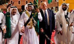 Saudi Arabia's King Salman and Donald Trump take part in a traditional sword dance, Riyadh, May 2017