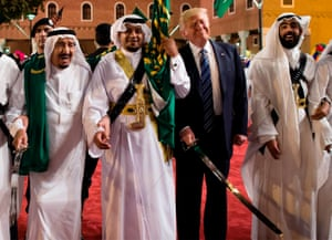 Donald Trump at a sword ceremony in Saudi Arabia