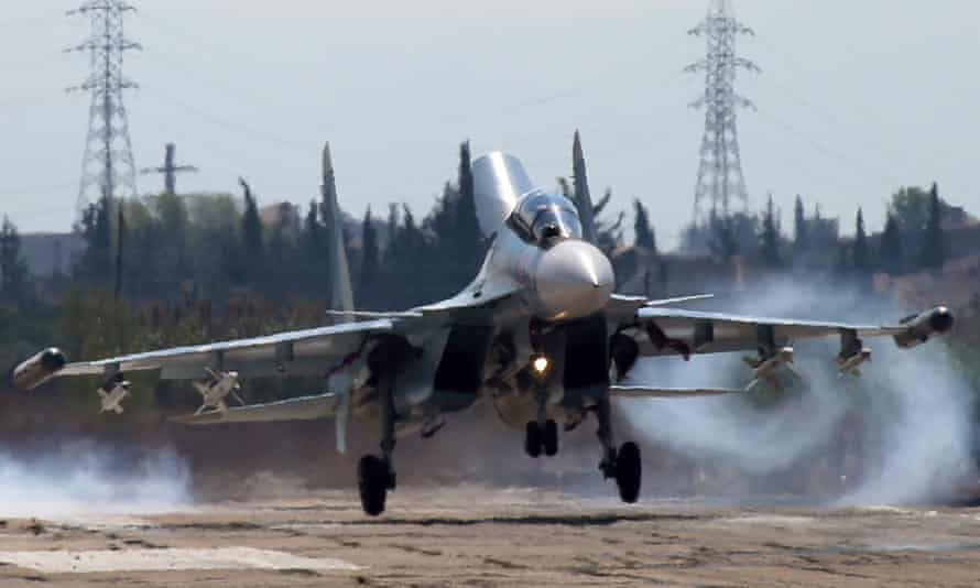 Russia's Sukhoi Su-30 fighter jet lands at Hmeymim airbase in Syria