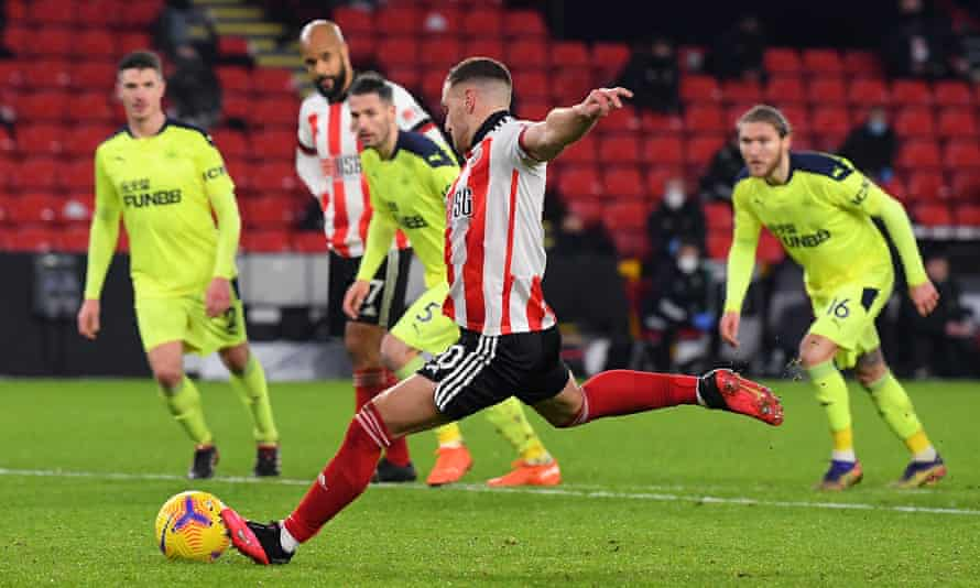 Billy Sharp scores the decisive penalty for Sheffield United against Newcastle at Bramall Lane.
