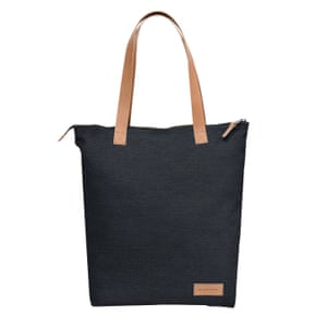black tote bag with leather handles Eastpak
