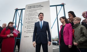 Written in stone: the former Labour leader Ed Miliband unveils Labour's pledges carved into a stone plinth in Hastings.