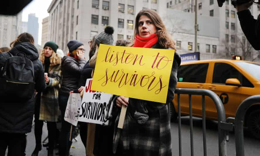 Protesters gather as Harvey Weinstein arrives at a courthouse in New York, New York, on 6 January.