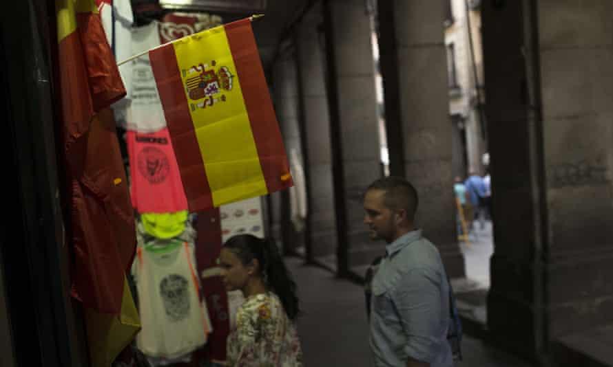 A Spanish flag at a souvenir shop in Madrid.