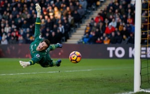 Hull City's Eldin Jakupovic at full stretch against Bournemouth