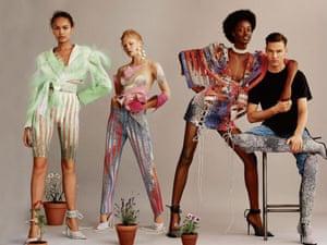 Designer Kevin Germanier with models featured in Elle UK magazine Sept 2018