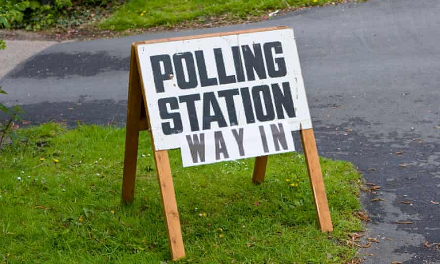 Sign reading 'Polling station: way in'