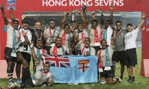 Fiji celebrate after retaining the Hong Kong Sevens title.