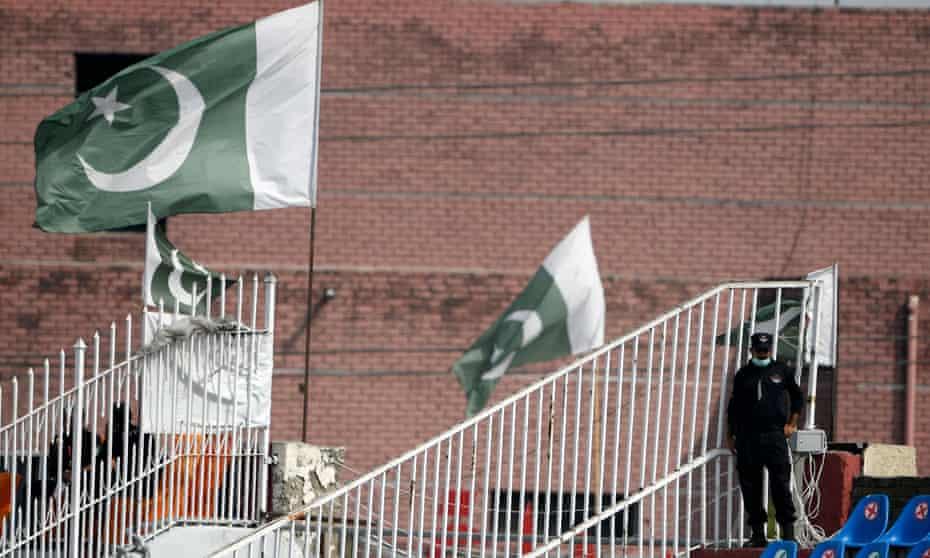 A policeman stands guard at Rawalpindi cricket stadium after New Zealand abandoned their tour of Pakistan.